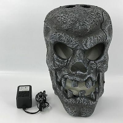 """Large 15"""" Animated Flaming Skull Halloween Prop Wall Hanging Plastic"""