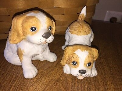 Lot of 2 Vintage Homco Cocker Spaniel Puppies Dogs #1407