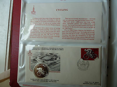 1980 Moscow PNC CYCLING Silver medal +FDC Stamp +descriptive sheet!!