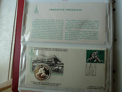 1980 Moscow PNC FREESTYLE WRESTLING Silver medal +FDC Stamp +descriptive sheet!!