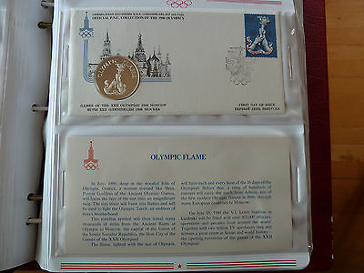 1980 Moscow OLYMPIC FLAME Silver medal +FDC Stamp +descriptive sheet!!