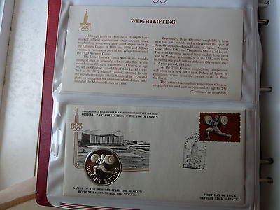1980 Moscow WEIGHTLIFTING Silver medal +FDC Stamp +descriptive sheet!!