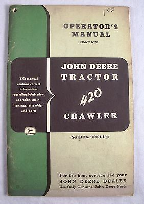 John Deere Tractor Operator's Manual Model 420 Crawler