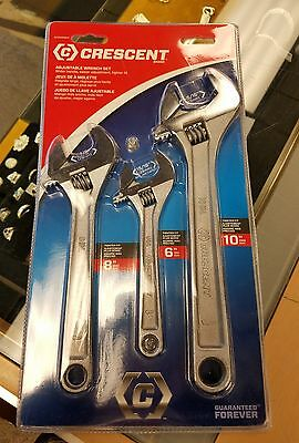 "3 Piece Crescent Wrench Set 6"" 8"" 10"" Brand New Adjustable"