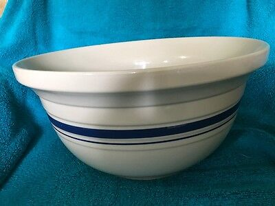 Roseville Friendship Pottery 8 qt Mixing Bowl w/ Blue Band Very Good Condition