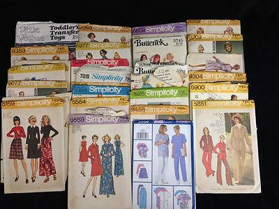 Lot of 28 Vintage 1970s Sewing Patterns, Simplicity, McCalls Butterick