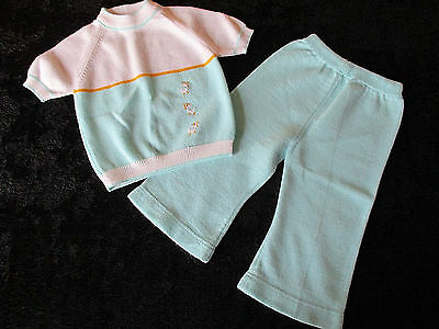 Vintage Outfit Blue Renzo Made Italy Knit 2 Piece Top Bottom Pants Sz. 9 mo Boys