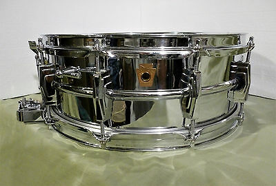 Vintage Early 60s Ludwig Super Sensitive Chrome Over Brass Shell 5x14 Snare Drum