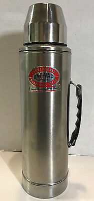Vintage UNO-VAC Thermos Stainless Steel Unbreakable 1 Quart Retro Industrial