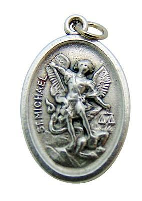 "St Michael and Guardian Angel Medal 3/4"" Metal Saint Pendant from Italy"