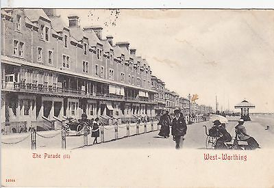 The Parade, West Worthing -  B&w Postcard (Kevii Stamp)
