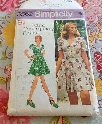 """Simplicity 70s Young Contemporary Dressmaking Sewing Dress Pattern 34"""" Bust"""