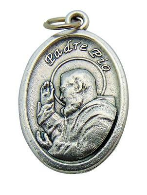 "St Padre Pio Medal 3/4"" Metal Catholic Saint Pendant Gift from Italy"