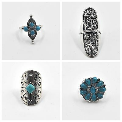 Anillos mujer plateados y turquesas  women silver rings new fashion jewelry boho
