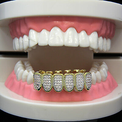 14k Gold Plated Hip Hop Iced Out Simulated CZ Teeth Grillz Caps Bottom Cap Grill