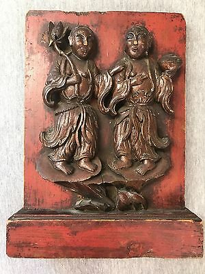 Antique Chinese Hand Carved Wood Plaque Wall Panel