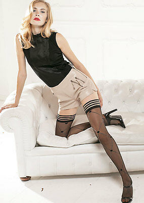 Trasparenze Thigh High Hold Up stockings with diamond and hearts large