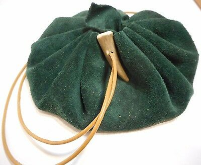 """5"""" Handmade Green Suede Leather Drawstring pouch Circle Pouch Purse Coin Bag"""