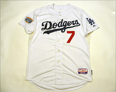 * MLB Baseball Los Angeles Dodgers Shirt Majestic Jersey Vintage #7 Loney