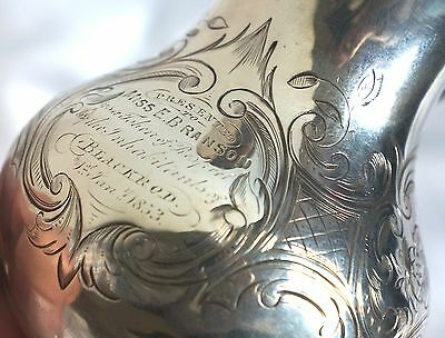 1847 Victorian Sterling Silver Presentation Tribute Cream Jug. Blackrod, Bolton.