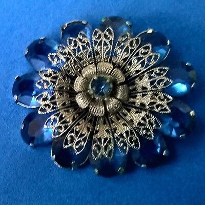 Old Chromed Silver Filigree Brooch with Facetted Royal Blue Pastes Czech Glass