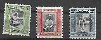 Jamaica 1923 Child Welfare set of 3 stamps . Unused (OG, but with hinge mark)