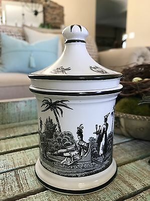 Mottahedeh Italy Black and White Transferware Covered Jar Farmhouse Cottage