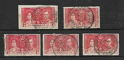 JAMAICA. Five uncommon postmarks on the 1d KGVI coronation stamp