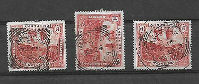 JAMAICA three uncommon POs with squared circle datestamps on SG 31