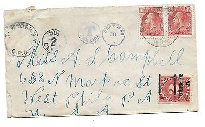 JAMAICA 1930 letter to USA with Jamaican and American postage due marks.