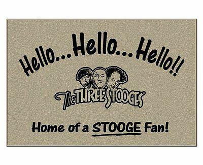 THE THREE STOOGES DOORMAT Moe Larry Curly Greet Your Guests! Man Cave Essential!