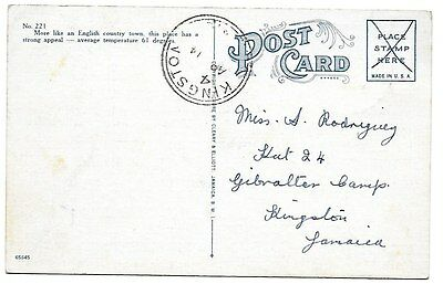 JAMAICA.  Kingston dater at GIBRALTAR CAMP c1941 on postcard from Mandeville