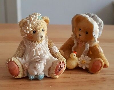 2 Cherished teddies with duckling, bunny and flower  boxed. 1993. 916358