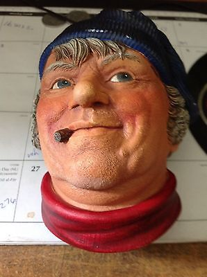 Vintage Chalkware Head Bust Fisherman By Legends Products 1984 SIGNED