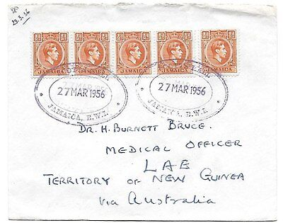 JAMAICA. TRD on 1956 cover to Papua (New Guinea) for SCOTTS HALL postal agency