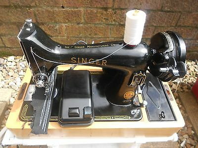 SUPERB SINGER 99k ELECTRIC SEWING MACHINE ALL METAL, SEW'S LEATHER, RED S.