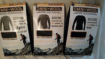 Omni-Wool Men's Crew Top -Dual layer - Quick-Dry Stretch Fabric- size L XL