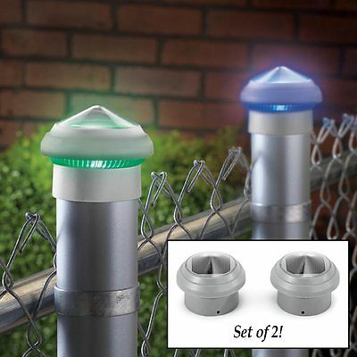Set of 2 Solar Powered Color-Changing Outdoor Chain Link Fence Post Caps