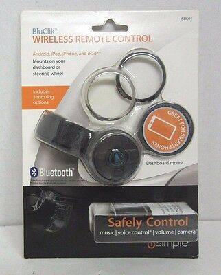 ISIMPLE ISBC01 BluClik Bluetooth Remote Control with Steering Wheel & Dash Mount
