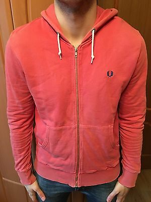 Fred Perry Pink Hooded Zip Jumper Cotton Hoodie Size - Medium (M)