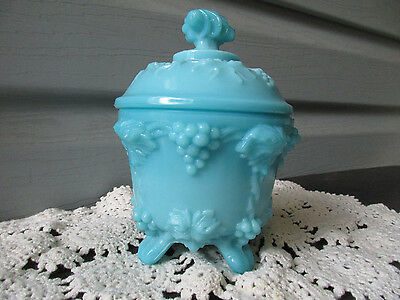 Portieux Vallerysthal (PV France Label) Blue Milk Glass Grape Candy Dish 19th C