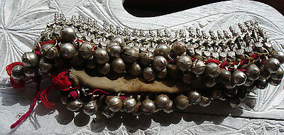 Indian Kuchi tarnished  lined heavy chunky bell anklet