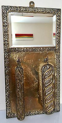 Vintage Art Deco Edwardian Brass Wall Hanging Clothes Brushes Bevelled Mirror