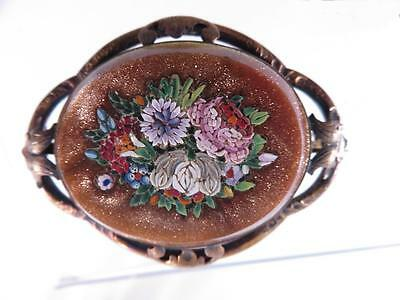 Oval Victorian Goldstone Micro Mosaic Floral Brooch Gold Filled Frame