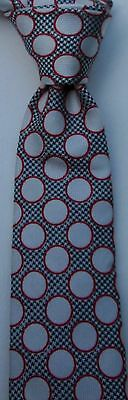 Gucci silver gray with red circles slim  Silk Tie Made in Italy.New W.O.T