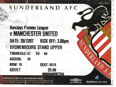 Sunderland V Manchester United 2007/2008 Ticket