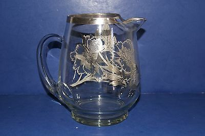 Glass With Sterling Silver Overlay Water Pitcher Elegant