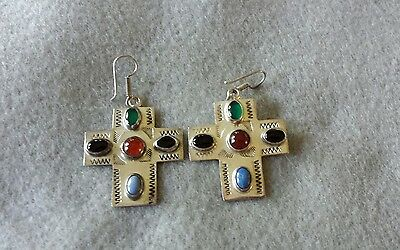 Vintage Sterling Silver & Inlaid Stone Earrings - Taxco Mexico