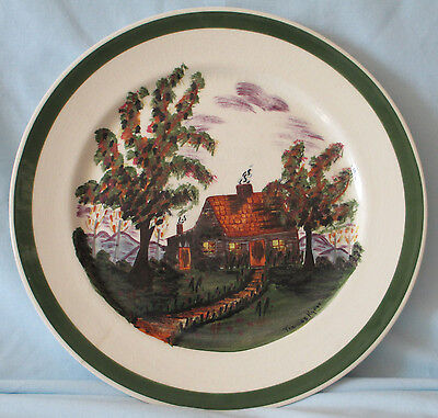 Blue Ridge Pottery Frances Kyker Artist Signed Cabin Dinner Plate 60/3 RARE