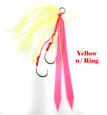ULTRA SHARP 6//0 HOOK JIGGING WORLD 2 PACK FLUKE CANDY TEASERS